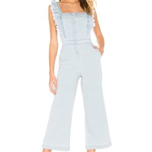 BB DAKOTA RUFFLE SLEEVE CHAMBRAY JUMPSUIT
